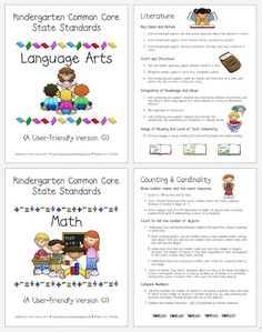 Kindergarten common core  standards for parents!! {freebie} So great for open house/meet the teacher night!!!