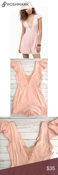 TOBI 🌸 ruffle sleeve romper Lace v-neck 'go deep' romper by TOBI. Brand new with tags. Blush color. Perfect for a tan and spring! Tobi Pants Jumpsuits & Rompers
