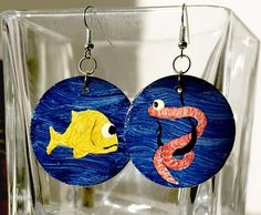 hand made, painted earrings