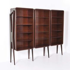 Ico Parisi; Rosewood and Glass Bookshelves, 1950s.