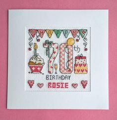 Happy 70th Birthday cross stitch card kit by CelebrateInxStitch