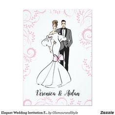 Elegant Wedding Invitation Fashionillustration Elegant Wedding Invitations, Wedding Invitation Templates, Wedding Cards, Diy Wedding, Wedding Gifts, Wedding Illustration, Couple Illustration, Invitation Card Design, Glamorous Wedding