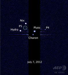 冥王星とその5つの衛星。左上の緑の円で囲まれているのが2012年に見つかった5個目の衛星(2012年7月7日撮影)。(c)AFP/NASA/ESA ▼27Jul2015AFP|【写真特集】冥王星、探査機が最接近 明らかになるその姿 http://www.afpbb.com/articles/-/3054541 #Pluto #بلوتو #冥王星 #Плутон #Plutón #پلوتو #명왕성
