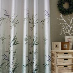 Gray Bamboo Print Window Curtains Living Room Drapes for Sale These modern curtains offer a fresh & quietly elegant feel, will easily add an element of innovatio Leaf Curtains, Bamboo Curtains, Privacy Curtains, Printed Curtains, Modern Curtains, Window Curtains, Patterned Curtains, Insulated Curtains, Thermal Curtains