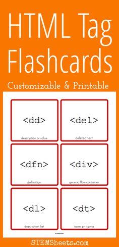 HTML Tag Flashcards - Customizable and Printable
