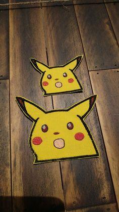 "Iron On Cloth Applique 2.50/"" X 3.00/"" Pikachu Patch Pokemon Sew"
