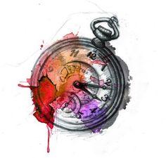 Watercolor splattered clock
