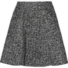 MSGM Herringbone bouclé mini skirt ($110) ❤ liked on Polyvore featuring skirts, mini skirts, faldas, black, herringbone skirt, black jersey skirt, black miniskirt, black jersey and short mini skirts