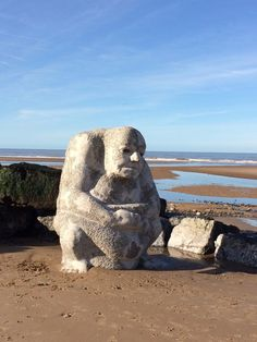 The Stone Ogre on Cleveleys beach - Visit Cleveleys Jubilee Gardens, Beach Watch, Out To Sea, Seaside Towns, Stone Sculpture, Go Green, Public Art, Paddle, The Rock