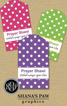 Dots, dots, and more dots cover this ShanasPaw.com Tag design. Your purchase includes 6 tag templates with your wording and choice of colors.