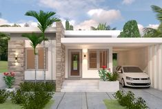 House Design Plans with 3 Bedrooms - Sam House Plans House Layout Design, Modern Bungalow House Design, Small House Layout, Small Modern House Plans, Modern Exterior House Designs, Unique House Design, House Layouts, Modern Bungalow Exterior, One Storey House