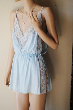 http://dingox.com Vintage Light Blue Tie Waist Babydoll by JC by LingerieAddicts, $20.00