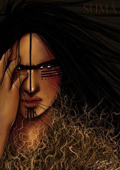 SUMA, uma deusa da ira e inimiga dos Homens, FILHA DE Tupã.  Ela se cobre com hum pesado manto de cipó-chumbo, que cobre tudo ao seu redor, por onde passa.