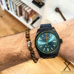 Our Black DLC Coated #Rolex #Milgauss, accompanied by the Kungsörn #stilkompaniet Bracelet | xupes.com