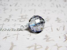 Scryer's Orb Necklace. Iridescent Steel Blue disco ball cut round crystal and sterling silver.