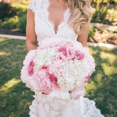 Pink and White Peony and Hydrangea Bridal Bouquet // Al Gawlik Photography // Bridal Bouquet: Camp Lucy // http://www.theknot.com/weddings/album/a-romantic-rustic-wedding-in-austin-tx-139542