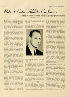 "The Ohio Alumnus, January 1946. ""Bobcats Enter Athletic Conference."" Ohio University joined the Midwestern Athletic Conference [MAC] with Wayne University at Detroit, University of Cincinnati, Butler University and Western Reserve University. :: Ohio University Archives"
