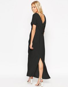 Image 1 of ASOS Cowl Back Crepe Maxi Dress
