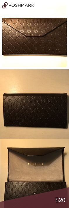 Gucci eyeglass case Authentic Hard Gucci eyeglass case never been used dark brown with small Gucci symbols all over for eyeglasses only unless sunglasses are small Gucci Accessories