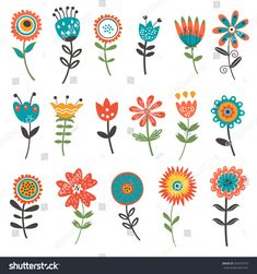 Find Beautiful Collection Floral Decorative Elements Vector stock images in HD and millions of other royalty-free stock photos, illustrations and vectors in the Shutterstock collection. Thousands of new, high-quality pictures added every day. Art Floral, Motif Floral, Folk Art Flowers, Flower Art, Folk Embroidery, Embroidery Patterns, Doodle Art, Vintage Clipart, Bordado Popular