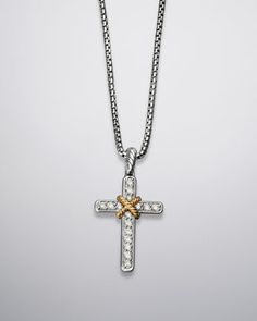 David yurman sterling silver 14k yellow gold cross necklace cable collectibles cross necklace pave diamonds 17l by david yurman at neiman aloadofball Images