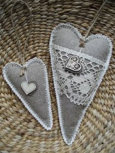 Two hearts made of fabric and crocheted edge
