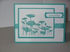 Birthday Card SU Upsy Daisy stamp, paper, punches & ribbon cuttlebug embossing folder