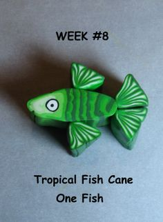www.sharonscorneronline.com - Green and white Tropical Fish Cane - Sharon Mhyre