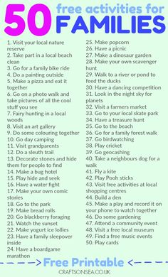 Save money and have fun with this list of 50 free activities for families as recommended by parents. Includes a printable list too! Need to find substitutions for ~ not possible. #20, What is #42?
