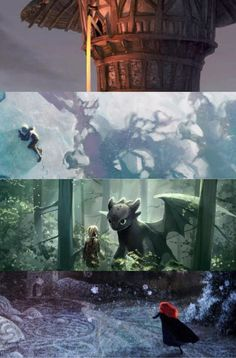 Concept art, I believe for ROTG, Brave, Tangled, and HTTYD.  Beautiful!