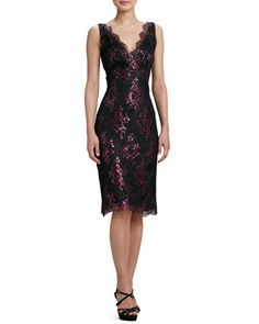 Pink Metallic Floral Lace Cocktail Dress  by Kalinka at Neiman Marcus.