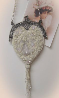 White Beaded Victorian Purse ~