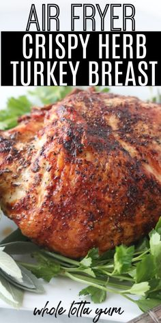 An easy air fryer turkey breast recipe that's super crispy with an herb butter and cooks in less than an hour! Using your air fryer is perfect for a healthy holiday recipe or Thanksgiving when you're cooking for a small group. The easy bone-in turk Air Fryer Turkey Recipes, Air Fryer Turkey Breast Recipe, Air Fryer Recipes Appetizers, Air Fryer Recipes Low Carb, Air Fryer Recipes Breakfast, Air Fryer Dinner Recipes, Turkey Fryer, Roast Recipes, Fish Recipes