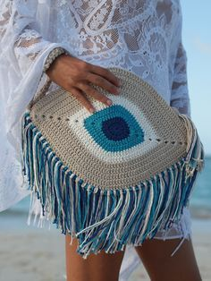 Hopiness Black Crochet Crossbody Bag - Elexis Evil Eye Fringe Clutch Bag You are in the right place about fashion drawing Here we offer yo - Beau Crochet, Love Crochet, Beautiful Crochet, Knit Crochet, Crochet Summer, Cotton Crochet, Crochet Clutch, Crochet Handbags, Crochet Purses