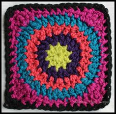 Granny's Circle in Square, free crochet pattern on Beatrice Ryan Designs