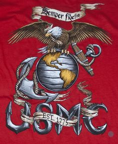 Eagle, Globe, and Anchor Red Long Sleeve T-Shirt   Sgt Grit - Marine Corps Store