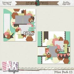 Mini Pack 13 BY AK Designs. Includes the PSD, PNG, TIFF and PAGE file formats at 50% off. Available at Scraps N Pieces