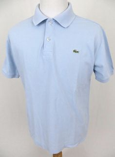 Lacoste Polo Shirt Large 5 Blue Golf Embroidered Crocodile Cotton Short Sleeve #Lacoste #PoloRugby