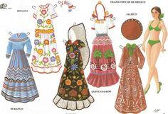 Mexican regional costume paperdoll clothes: Sinaloa, Jalisco, Durango, Quintana Roo