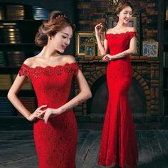 Red lace long evening dress dinner party formal dress wedding bridesmaid dresses #Handmade #Peplum #Formal