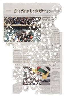Illustrator and artist Donna Ruff finds beauty in unconventional items such as the New York Times. She eliminates random areas of text and images while repeating intricate detailed patterns. Folded Book Art, Book Folding, Paper Cutting, Cut Paper, Art Watercolor, Art Plastique, New York Times, Textures Patterns, Art Education