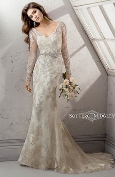 Bridal Gowns: Maggie Sottero Sheath Wedding Dress with Tip of the Shoulder Neckline and Natural Waist Waistline