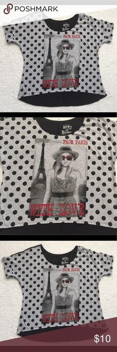 """From Paris With Love Cute Top size M Preowned, some pilling.  Front: 16  Back: 22.5""""  Armpit to armpit: 23"""".   A12 Word of Mouth Tops Blouses"""