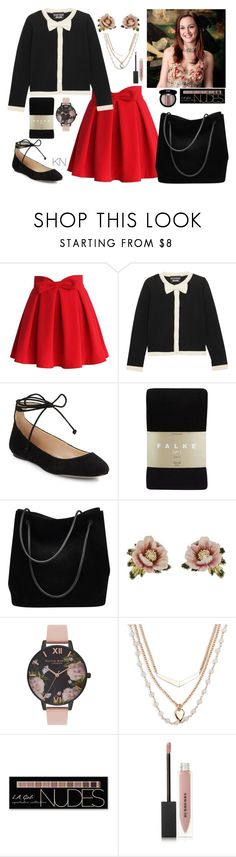 """📜"" by missnetipa ❤ liked on Polyvore featuring Chicwish, Boutique Moschino, Karl Lagerfeld, Falke, Gucci, Les Néréides, Olivia Burton, Vera Bradley, Charlotte Russe and Burberry"