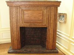 Doll-House-Miniature-Large-Wood-Fireplace