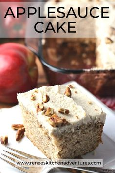 Applesauce Cake by Renee's Kitchen Adventures. An easy homemade cake made with applesauce and frosted with a brown sugar frosting. Moist and delicious and flavored with cinnamon. Use your favorite applesauce brand with this recipe! Delicious Cake Recipes, Yummy Cakes, Dessert Recipes, Desserts, Applesauce Spice Cake, Homemade Applesauce, Roast Recipes, Apple Recipes, Easy Homemade Cake