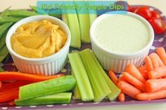 Whip these simple dips up to increase the amount of fresh veggies your kids snack on!