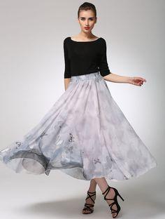 Grey chiffon skirt print butterfly prom skirt maxi by xiaolizi
