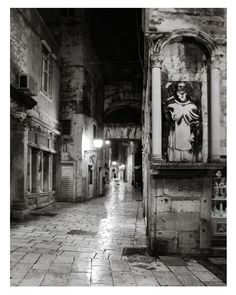 Black And White Photography, Black And White Night Photography Prints, Large Wall Art Print, Split, Croatia Urban Photography, Night Photography, Fine Art Photography, Street Photography, Landscape Photography, Nature Photography, Shopping World, Shopping Stores, Online Shopping