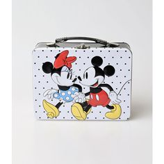Black & White Mickey & Minnie Mouse Large Tin Tote ($22) ❤ liked on Polyvore featuring bags, handbags, tote bags, multicolor, black and white tote, black and white purse, polka dot tote, polka dot purse and black and white polka dot purse